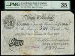 Bank of England, John Nairne (1902-1918), 5, London, 18 December 1907, serial number A/50 77966, bla