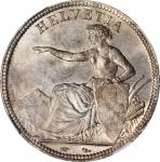 SWITZERLAND. 5 Francs, 1851-A. Paris Mint. NGC MS-63.
