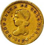 COLOMBIA. 1836/4-RU Escudo. Popayán mint. Restrepo 162.34. VF Detail — Damage (PCGS).