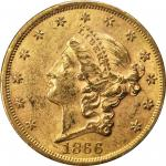 1866 Liberty Head Double Eagle. AU-58+ (PCGS).