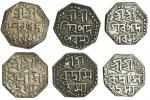 Assam, Rudra Simha (1696-1714), octagonal Half-Rupees (3), 5.65, 5.64, 5.30g, undated, legends in th