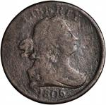 1806 Draped Bust Half Cent. C-2. Rarity-4. Small 6, Stems to Wreath. VG-8 Environmental Damage, Tool