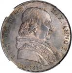 ITALY. Papal States. Scudo, 1830-ROMA Year I. Rome Mint. Pius VIII. NGC MS-64.