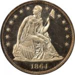 1864 Liberty Seated Silver Dollar. Proof-65 (PCGS). CAC. OGH.