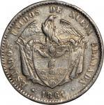 COLOMBIA. 1861 Peso. Bogotá mint. Restrepo 226.5. AU-50 (PCGS).