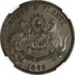 NEW ZEALAND. Invercargill. S. Beaven. Penny Token, 1863. NGC AU-58 BN.