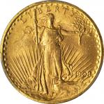 1908 Saint-Gaudens Double Eagle. No Motto. MS-63 (PCGS).