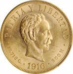 CUBA. 10 Pesos, 1916. Philadelphia Mint. PCGS MS-62 Gold Shield.