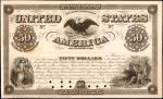 United States of America. Act of February 25, 1862. $50 6% Coupon Bond. Hessler X132G. Principal Por