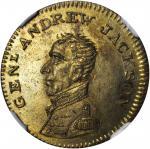 1824 Andrew Jackson Medal. DeWitt-AJACK 1824-5. Brass. Plain Edge. 24 mm. MS-65 (NGC).
