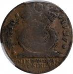 1787 Fugio Copper. Pointed Rays. Newman 6-W, W-6730. Rarity-4. STATES UNITED, 4 Cinquefoils. Fine-12