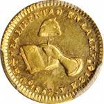MEXICO. 1/2 Escudo, 1862/1-Go YE. Guanajuato Mint. PCGS MS-62 Gold Shield.