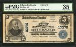 Orland, California. $5 1902 Plain Back. Fr. 603. The First NB. Charter #10378. PMG Choice Very Fine