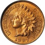1887 Indian Cent. MS-65 RD (PCGS). CAC. OGH.