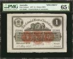 AUSTRALIA. Colonial Bank of Australasia. 1 Pound, 1877. P-Unlisted. Specimen. PMG Gem Uncirculated 6