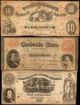 Lot of (6) T-10, T-24, T-25, T-33 & T-37. Confederate Currency. 1861 $5 & $10. Very Fine.
