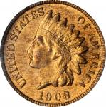 1908-S Indian Cent. MS-64 RB (PCGS). CAC.