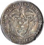 COLOMBIA.1873 pattern 1/2 Decimo. Medellín mint. Restrepo P22. Silver. SP-63 (PCGS).