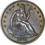 1865 Pattern Liberty Seated Half Dollar. Judd-429, Pollock-502. Rarity-7-. Silver. Reeded Edge. Proo