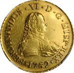 CHILE. 8 Escudos, 1752-So J. Santiago Mint. Ferdinand VI. NGC AU-53.
