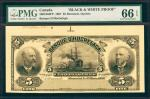 CANADA. Banque DHochelaga. 5 Dollars, 1907. P-3601804FP. Face Proof. PMG Gem Uncirculated 66 EPQ.