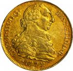 COLOMBIA. 8 Escudos, 1772-P JS. Popayan Mint. Charles III (1759-88). PCGS AU-55 Gold Shield.