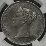 "PORTUGAL ポルトガル 1000Reis 1838 NGC-UNC Details ""Removed From Jewelry"" ややミガキ EFDav-265 KM-472 マリア2世 制造3"