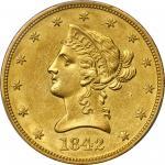 1842-O Liberty Head Eagle. Winter-3. AU-58 (PCGS).