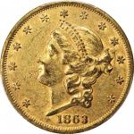 1863 Liberty Head Double Eagle. AU-53 (PCGS).