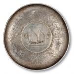 民国时期镶民国二十二年孙中山像背帆船壹圆银币银盘