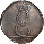 RUSSIA. Moldavia & Wallachia. Pattern 3 Dengi (Para), 1771. Catherine II (the Great) (1762-96). NGC