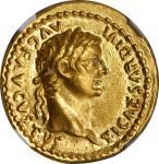 TIBERIUS, A.D. 14-37. AV Aureus (7.72 gms), Lugdunum Mint, A.D. 36-37. NGC MS, Strike: 5/5 Surface: