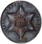1868 Silver Three-Cent Piece. Net Proof-55 (ANACS). Proof--Edge Filed. OH.