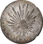 MEXICO. 4 Reales, 1863-Go YF. Guanajuato Mint. NGC AU-58.