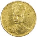 Lot 835 IRAN: Nasir al-Din Shah, 1848-1896, AV toman, Tehran, AH1297, KM-932, date on obverse, flank