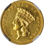 1855 Three-Dollar Gold Piece. AU Details--Removed from Jewelry (NGC).