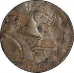 1787 New Jersey copper. Maris 73-aa. Rarity-4. Plaited Mane. Overstruck on 1776 Machin's Mills halfp