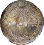 GUATEMALA. 8 Reales, 1842-NG MA. Clean Date. Nueva Guatemala Mint, Assayer