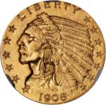 1908 Indian Quarter Eagle. MS-65+ (NGC). CAC.