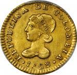 COLOMBIA. 1823-FM Escudo. Popayán mint. Restrepo 162.1. AU Detail — Cleaned (PCGS).