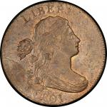 1801 Draped Bust Cent. Sheldon-215. Rarity-5. Mint State-64 RB (PCGS).