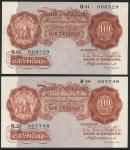 Bank of England, Basil Gage Catterns (1929-1934), 10 shillings (2), ND (1930), prefixes O01 and R39,