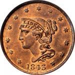 1843 Braided Hair Cent. N-4. Rarity-1. Noyes Die State D/B (N-13). Petite Head, Large Letters. MS-66