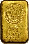 1968 New York Assay Office Gold Ingot. 38 mm x 56.5 mm x 21 mm. 25.96 ounces, .9998 fine.