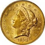 1858 Liberty Head Double Eagle. MS-61 (PCGS).