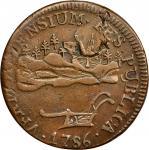 1786 Vermont copper. Landscape. Ryder-6, W-2020. Rarity-3. VERMONTENSIUM. EF-45 (PCGS).