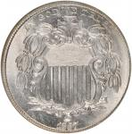 1867/1867 Shield Nickel. No Rays. FS-1303. Repunched Date. MS-65 (NGC).