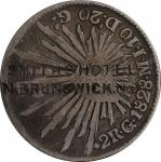New Jersey--New Brunswick. SMITHS HOTEL / N. BRUNSWICK, N. J on the obverse of an 1828-Go Mexican si