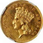 1864 Three-Dollar Gold Piece. MS-62 (NGC).