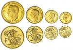 George VI (1936-1952), Coronation Gold Proof Set, 1937, Five-Pounds to Half-Sovereign (Spink PS15),